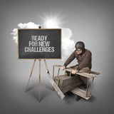 Ready for new challenges text with businessman and wooden aeroplane Stock Images