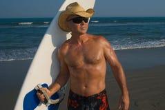 Ready per praticare il surfing Fotografia Stock