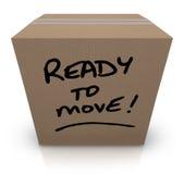 Ready per spostare la rilocazione commovente della scatola di cartone Fotografia Stock Libera da Diritti