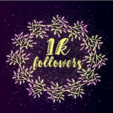 1k follower background with flat gradient wreath on glitter background. Beautiful social media icon Royalty Free Stock Photos