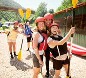 Ready rafting fun team Royalty Free Stock Photography