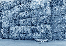 Ready for recycling plastic bottles. Plastic bottles pressed and packed for recycling Stock Photo