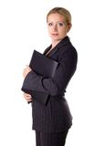 Ready for report. Business woman carrying a folder Royalty Free Stock Images