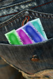 Ready for safe sex. Condoms waiting patiently in a denim pocket Stock Photography