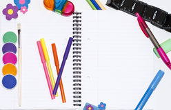 Ready for school. Different things that pupils need to school stock image