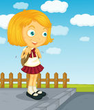 Ready for school. Illustration of a young girl going to school royalty free illustration