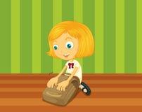 Ready for school. Girl packing bag for school stock illustration