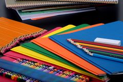 Ready for school. Closeup of colourful kit of school supplies royalty free stock photo