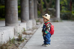 Ready For School. Baby boy with backpack ready for school Stock Photography