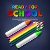 Ready for school paper cut style letters with realistic colorful pencils and markers. Blackboard background, vector. Ready for school paper cut style letters Royalty Free Stock Photo