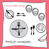 Ready for second plate. Dining table setting proper arrangement of cartooned cutlery. Vector illustration stock illustration