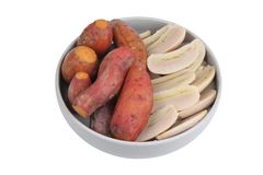Ready served boiled sweet potato and banana on korean style dish stock image