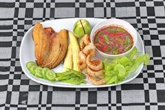 Ready served Spicy shrimp paste dip as  Nam Prik Kapi. Royalty Free Stock Images