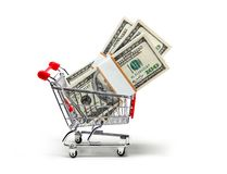 Ready for shopping with cash Royalty Free Stock Image