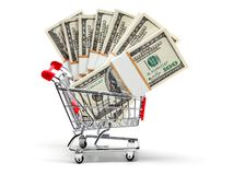 Ready for shopping with money Royalty Free Stock Photo