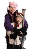 Ready for the ski season. Happy family ready for a winter ski vacation or outing Stock Photos