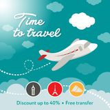 Time to travel. Square banner contains plane, clouds. Discount. Ready for social media square vector banner. Contains painted piane, sky, clouds, discount text Stock Photos