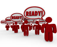 Ready Speech Bubbles Prepared People Anticipate Action. Ready word in speech bubbles spoken by prepared people practicing readiness in anticipation of upcoming Stock Photo