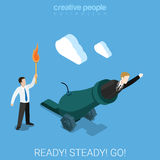 Ready steady go for goal business shot weapon flat 3d isometry. Ready steady go for a goal flat 3d isometry isometric business concept web vector illustration Royalty Free Stock Photos