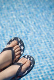 Ready for Summer. Pool water with flip-flop clad feet perched over the left corner. Lots of space for text stock photos