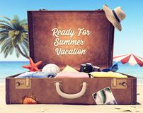 Ready for summer holidays - Suitcase with accessories and backdrop space royalty free stock photo
