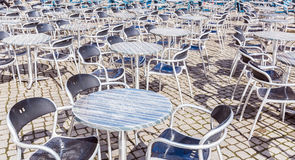Ready for summer - outside tables. Picture of tables from restaurant - outside and ready for summer Stock Photos