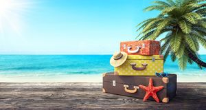 Ready for summer vacation, travel background. 3D Rendering Royalty Free Stock Images
