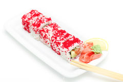Ready sushi roll on white plate Royalty Free Stock Photography