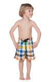 Ready for swimming!. A portrait of a cute preschool boy getting ready for swimming stock images