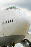 Ready for take off. Frontview of a big passenger aircraft Royalty Free Stock Photography