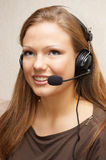 Ready to answer. Pretty customer support girl are ready for answer to calling customer Stock Images