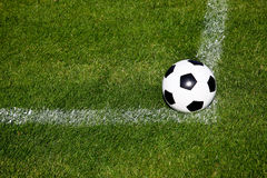Ready To Centre. Soccer Ball On The Corner Of The Square Of A Fresh Grassy Field Royalty Free Stock Photo
