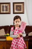 Little girl  with feather duster. Ready to cleen - little girl with feather duster Stock Image