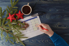 Ready to coming christmas. Calendar with marked date of christma Royalty Free Stock Photography