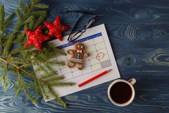 Ready to coming christmas. Calendar with marked date of christma Royalty Free Stock Images
