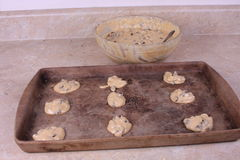 Ready to cook. Spoon fulls of cookie dough ready to be placed in the oven stock photo