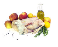Ready to cook duck  with apples Stock Images