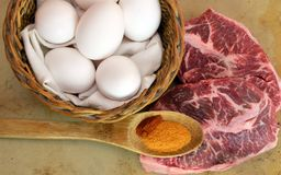 Ready to cook flat iron steak and eggs Stock Photos