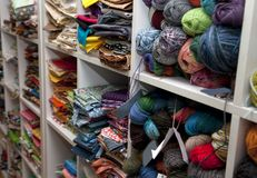 Ready to create. Shelves full of yarn and fabric in a home Stock Photography