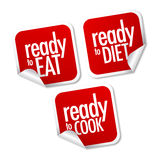 Ready to eat, diet and cook stickers. With shadow Stock Photography