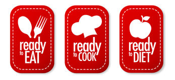 Ready to eat, diet and cook stickers. With shadow Stock Photo