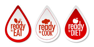 Ready to eat, diet and cook stickers. With shadow Stock Photos