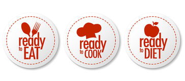 Ready to eat, diet and cook stickers. With shadow Royalty Free Stock Photography