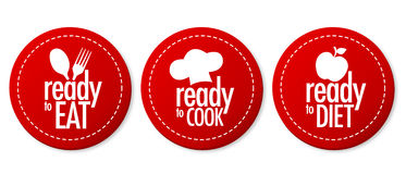 Ready to eat, diet and cook stickers. With shadow Stock Image
