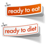 Ready to eat and diet stickers set. With shadow on white background Stock Photo