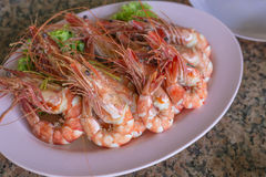Ready to eat grilled big prawn Stock Photos