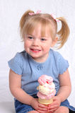Ready to Eat Ice Cream. A little girl ready to eat Ice Cream Stock Photo