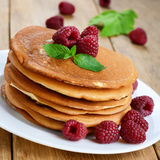 Ready to eat pancakes with raspberry Royalty Free Stock Images