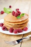Ready to eat pancakes with raspberry Stock Photography