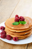 Ready to eat pancakes with raspberry Stock Image